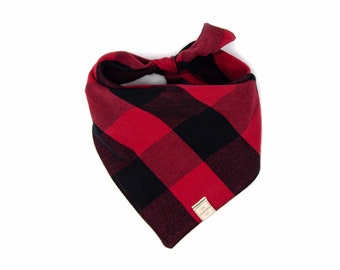 Eco Red Woven Stripe Dog Bandana  Recycled Pet Scarf  Fall Dog Scarf  Ethical Sustainable Puppy Bandana  Warm Autumn Puppy Scarf