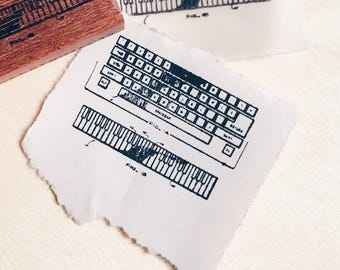 Wood Mounted Red Rubber Stamp - Keyboard 02