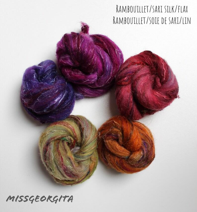 Spinning fiber nests with coordonated colors 4 blends Sorbet d/'\u00e9t\u00e9-25 gr