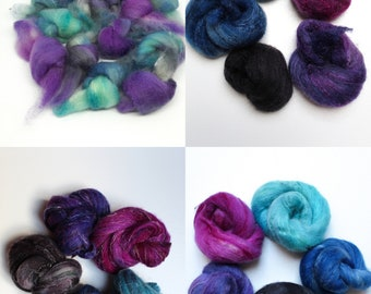 Spinning fiber nests with coordonated colors, 4 blends - Galaxy - 25 gr