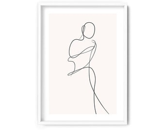 Minimalist Form Wall Art Print Woman Fashion Pose Boho Abstract Wall Art Poster White Border UST-06 Blush Female Pose Line Art II