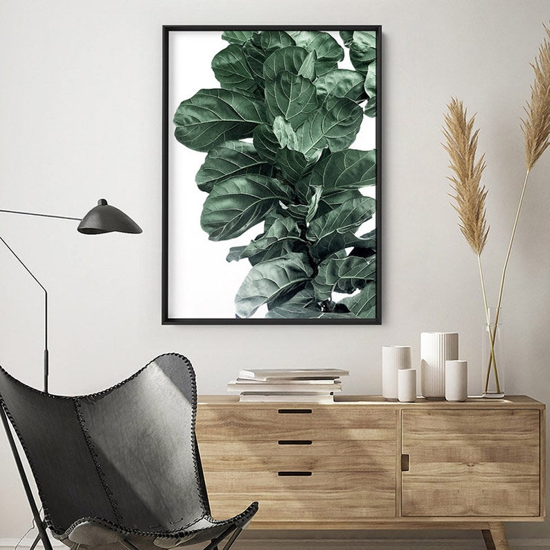 PLT-132 Great in the Set Fiddle Leaf Fig I Art Print Fig Tree Watercolour Style Botanical Poster Print Designed from Original Photo