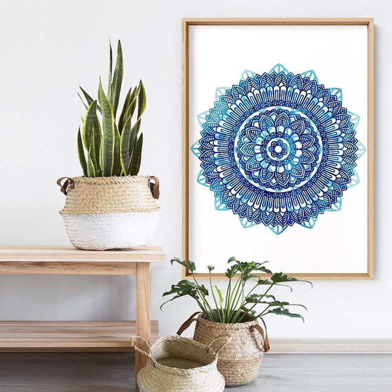 Framed or Unframed MAN-02 Boho Vibes Mandala Print Poster or Canvas Watercolour Style Art Blue Medallion Style Print and Proper