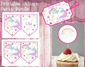 Unicorn Party Bundle, Unicorn Cupcake Toppers, Thank You Gift Tags, Birthday Favors, Printable Party Decorations, Unicorn Party Theme