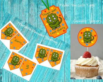 Dinosaur Party Bundle, Dinosaur Cupcake Toppers, Thank You Gift Tags, Birthday Favors, Printable Party Decorations, Dinosaur Party Theme
