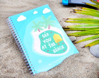 Colourful Day-to-View Undated A5 My Island Planner: Animal Crossing Game Compatible Beach Handmade