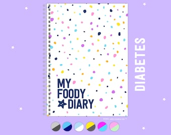 My Foody Diary Diabetes, 6 Months, Undated, Colourful, A5, Glucose Insulin Tracker, Food Journal, Planner, Handmade Log Book