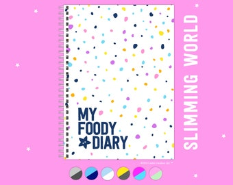 My Foody Diary compatible with Slimming World, 12 Months, Week-to-View, Undated, Colourful, A5, Food Journal, Tracker, Handmade Planner