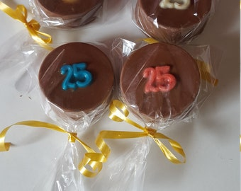 12 Chocolate Covered Oreo,Cookie, Favors, 25th Birthday, Belgian Chocolate, Covered Oreo,25th Anniversary