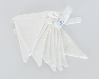 Fabric Flag Banner / Pennant / Bunting / Ivory / Petite Size