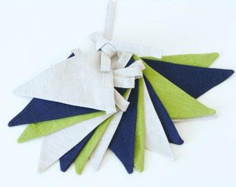 Fabric Flag Banner / Bunting / Pennant / Light Gray / Blue / Green