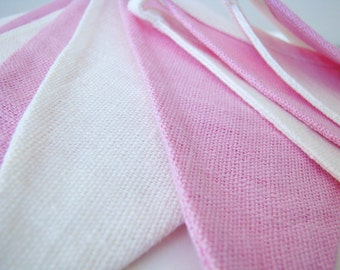 Fabric Flag Banner / Pennant / Bunting / Ivory White / Pink