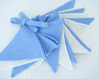 Fabric Flag Banner / Pennant / Bunting / White / Sky Blue