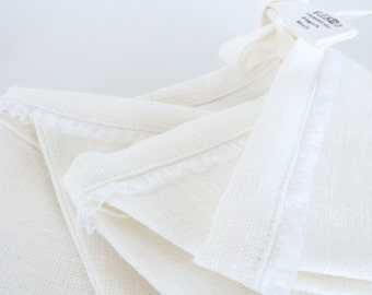 Fabric Flag Banner / Pennant / Bunting / Ivory White / Lace