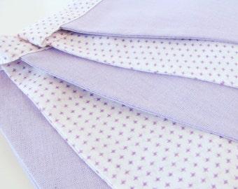 Fabric Flag Banner / Pennant / Bunting / White / Lavender Mist