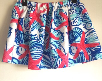 Lilly Pulitzer Elastic-Waist Skirt She Sells Sea Shells Size XS
