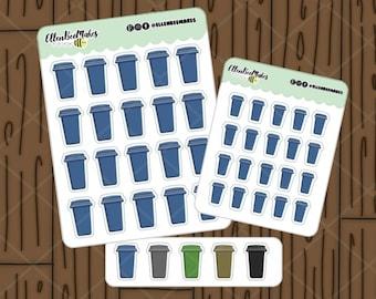 Wheelie Bin Stickers for planners, journaling, scrapbooking