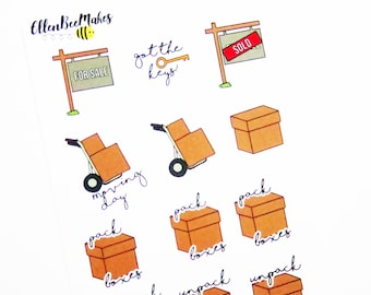 Moving House Stickers for planners, journaling, scrapbooking