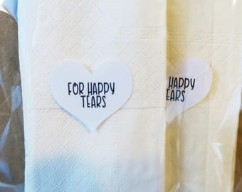 For Happy Tears - Heart Tissue Packet Stickers for Weddings, Invites, Wedding Favours