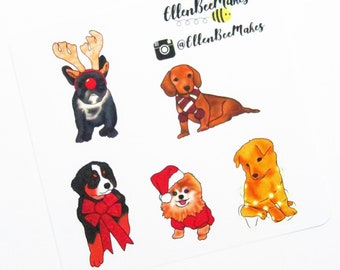 Mini Cute Christmas Winter Dogs Stickers for planners, journaling, scrapbooking