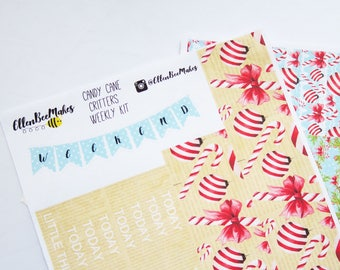 Candy Cane Critters Erin Condren/Happy Planner Weekly Kit