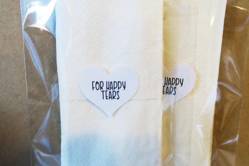 For Happy Tears  Heart Tissue Packet Stickers for Weddings image 0