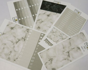 Marble Texture Weekly Sticker Kit for use with EC LifePlanner™/Happy Planners