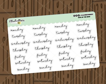 Days of the Week Stickers for planners, journaling, scrapbooking