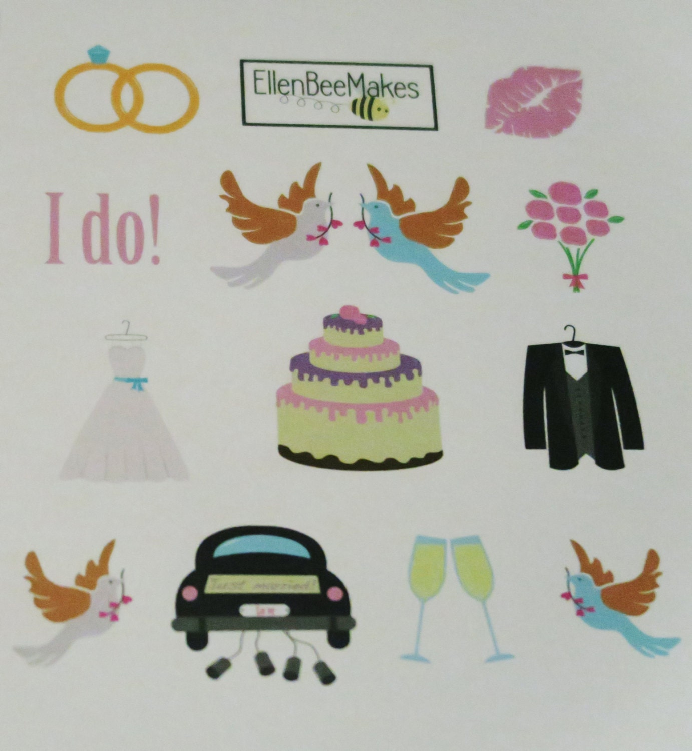 Wedding Themed Stickers for planners, journaling, scrapbooking from ...