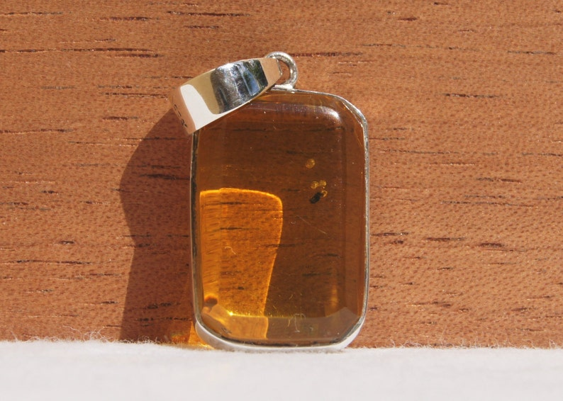 Original And Genuine Dominican Rectangular Shape Yellow Amber .925 Amber Pendant Sterling Silver Reversible Pendant Jewelry