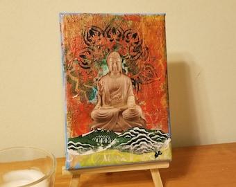 Buddha Art - Small Buddha Art - Yoga Studio Decor - Yoga Art - Healing Art - Namaste Art - Tabletop Art - New Age Art - Boho Art