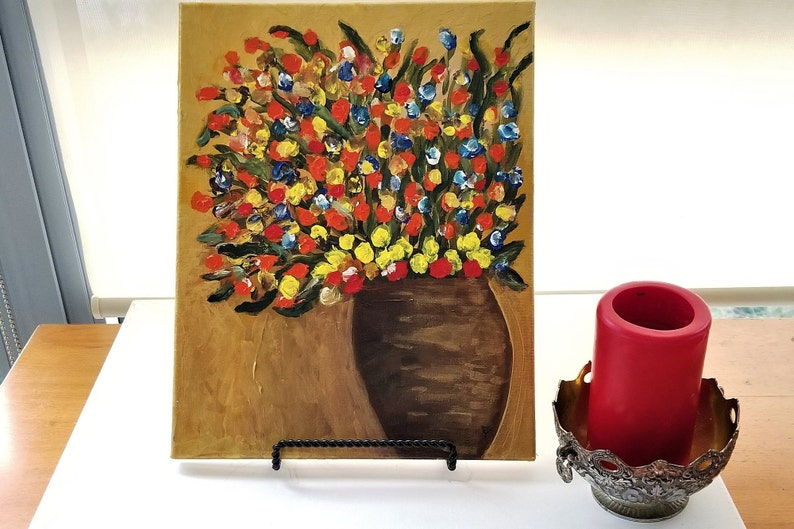 Fall Art- Fall Leaves in Vase - Gold Background Art - Flowers in Vase -  Cabin Home Art - Floral Art - Flowers in Vase Painting - Fall Decor