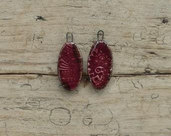 Pair of handmade ceramic raspberry bead charms