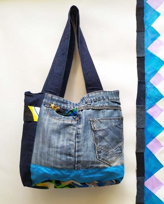 orden duradero en uso el precio más bajo Bolso elaborado con Jeans reciclados con bolsillo decorado con arena y  conchas de mar. Azul, oceano, playa. Reutilizado. Cartera con cierre