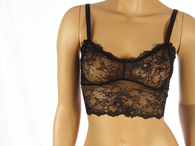 ffc869ff6a Black bralette lace bra sheer bralette sexy lingerie