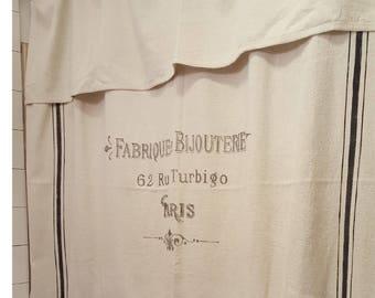 French Paris Grain Sack Window Or Shower Curtain Fabrique DeBijouterie