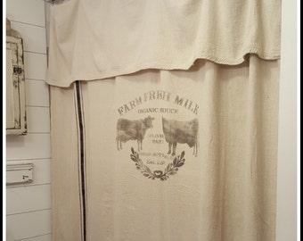 Grain Sack Window Or Shower Curtain Farm Fresh
