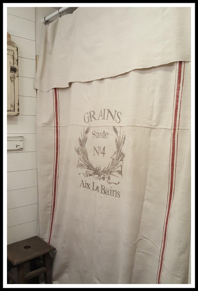 Grain Sack Window Or Shower CurtainGrains No4 Pattern