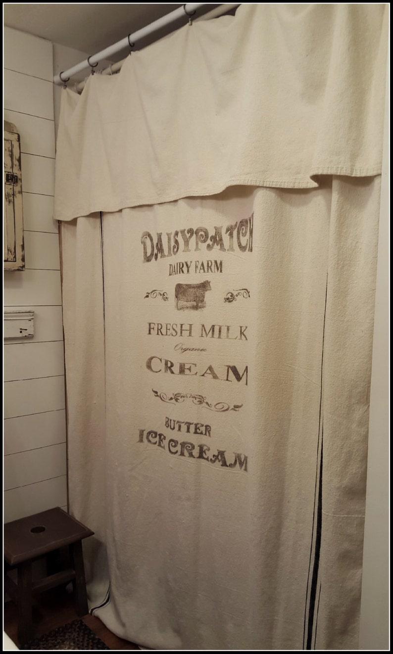 Daisypatch Dairy Farm Grain Sack Window Shower Curtain
