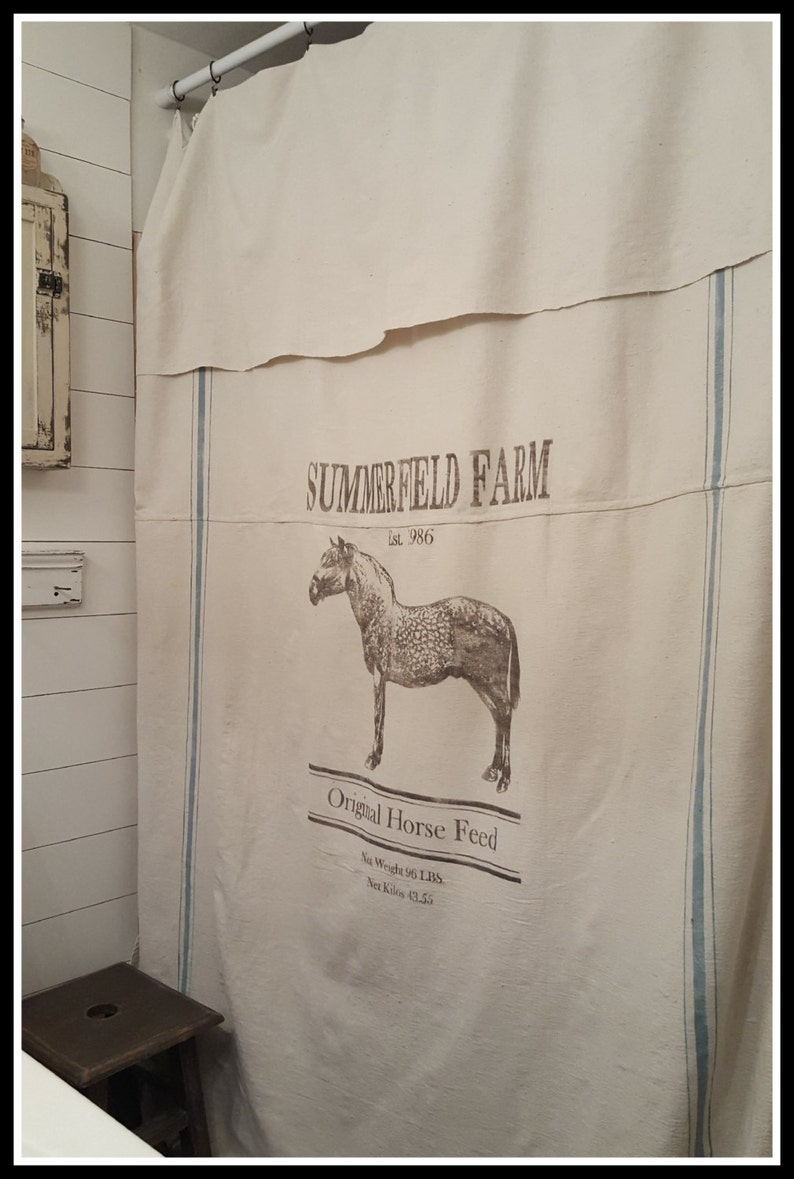 Personalized Horse Feed Grain Sack Window Shower Curtain