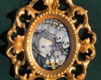 Squid original framed gallery show coaster painting by Bailey Berendsen