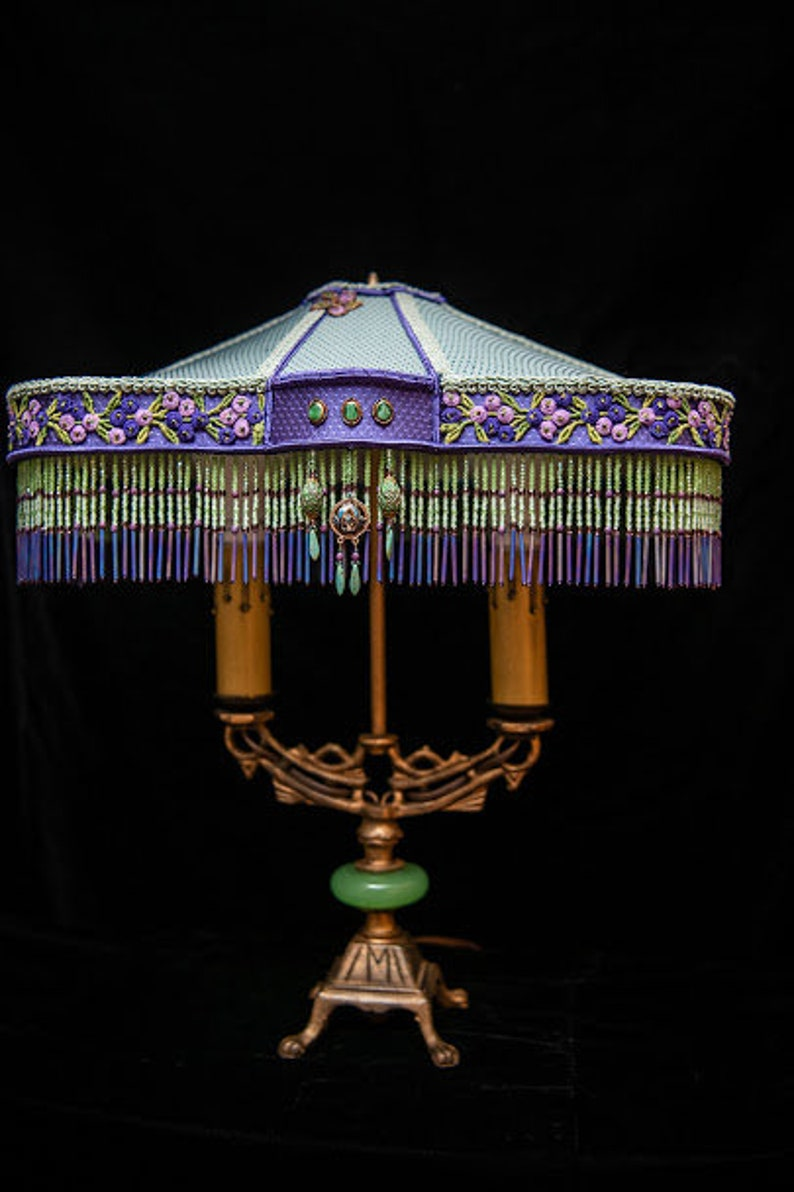 SOLD Christina crystal beaded lampshade on antique table lamp image 0
