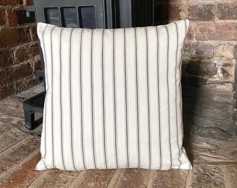 Handmade BROWN TICKING 100/% Cotton Cushion Cover.Various sizes 656