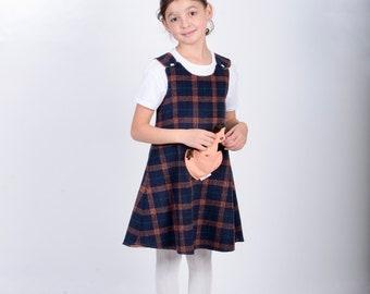 9 Years Handmade Reversible Girl's Folk Red Check Tweed Size New Born