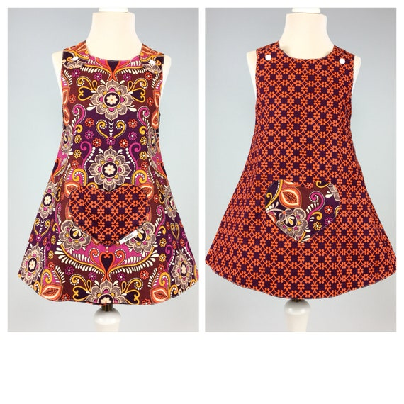 New Born 9 Years Handmade Reversible girl's dress Orange check Tweed Size