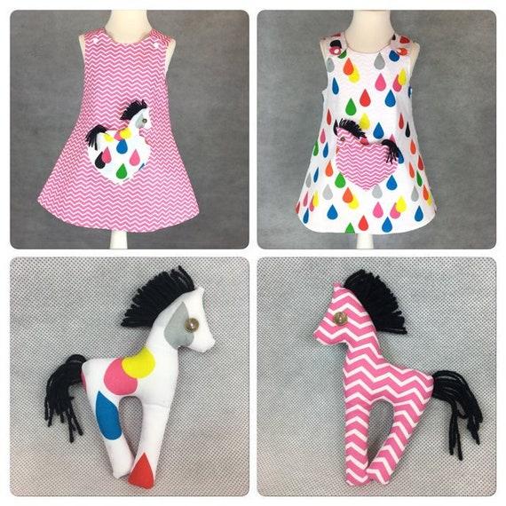 New Born 9 Years Handmade Reversible girl's dress Pink Flamingos Size