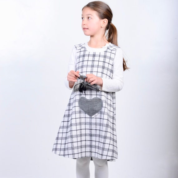 Handmade Reversible girl's dress Orange check Tweed Size New Born 9 Years