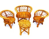Wicker Doll Furniture Set - Vintage Doll Furniture - Chair and Table Doll Set