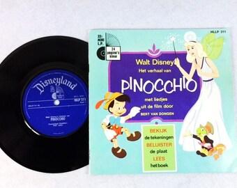 Vintage Walt Disney Pinocchio Book with Vinyl Record