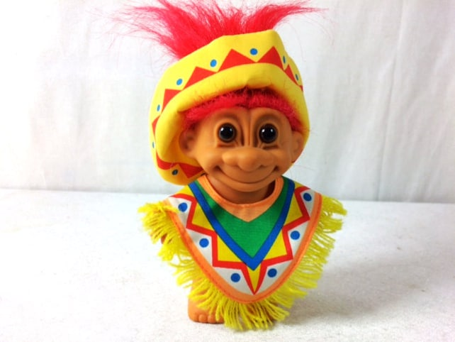 vintage mexican russ troll doll girl 5 inches poncho troll etsy